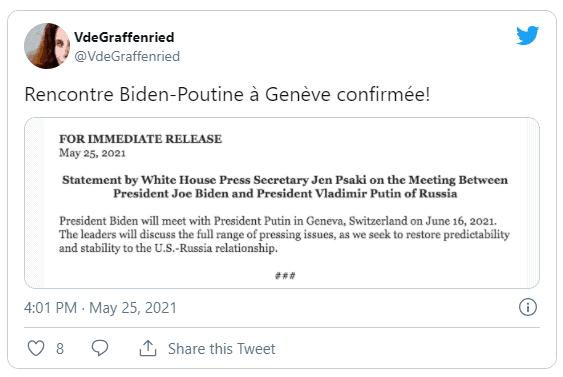Nord Stream 2 Rencontre Biden-Poutine Genève